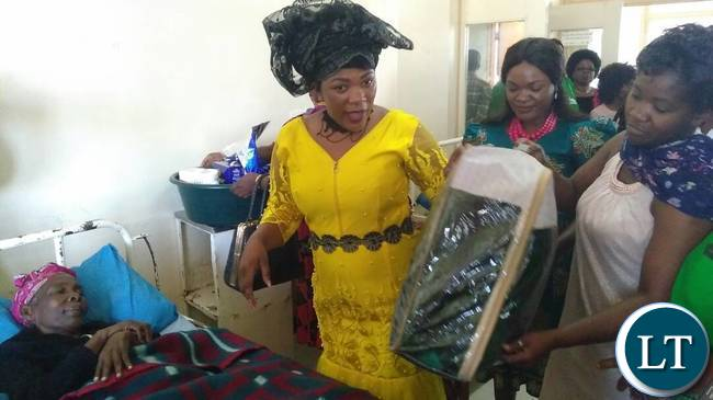 Mrs Lusambo handing over some of the donated items