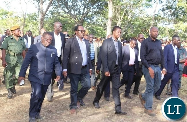 President Edgar Lungu (centre) with part of his entourage arriving at the Kasebo farm burial site where former freedom fighter Salome Kapwepwe was buried during the burial ceremony in Chinsali . Picture by SUNDAY BWALYA / ZANIS.