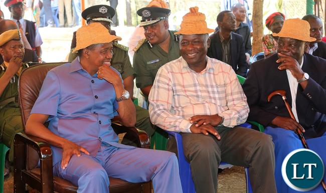 President Edgar Lungu at senior Chief Mukumbi in Kalumbila Distric