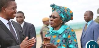 resident Lungu Chats with Vice President Inonge Wina at KK international airport 5
