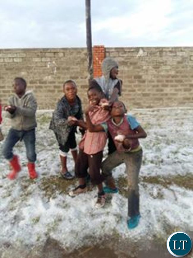 Snow time in Lusaka as children get to play