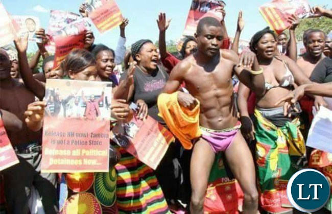 Some UPND cadres protesting