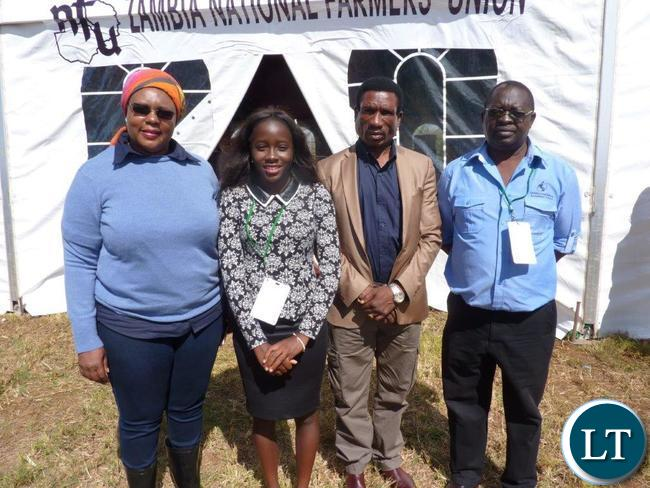 Stephanie (second from Left) with the Minister of Agriculture, Hon Dora Siliya MP (L)