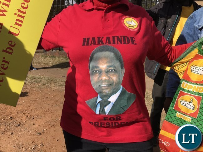 UPND supporters in South Africa protesting this morning