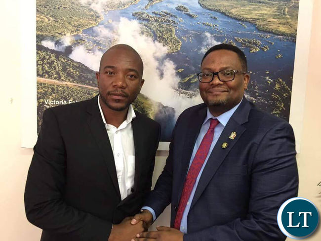 Zambian High Commissioner in Pretoria Emmanuel Mwamba. with South Africa's Democratic Alliance leader Mmusi Maimane during their meeting