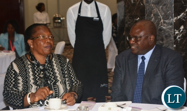 Chief Justice Irene Mambilima(l) and Speaker of the National Assembly Patrick Matibini(r)during the launch of Court Reporters Association of Zambia at Radisson Blu Hotel in Lusaka