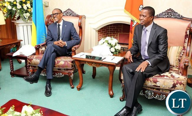 President Edgar Lungu and President Paul Kagame