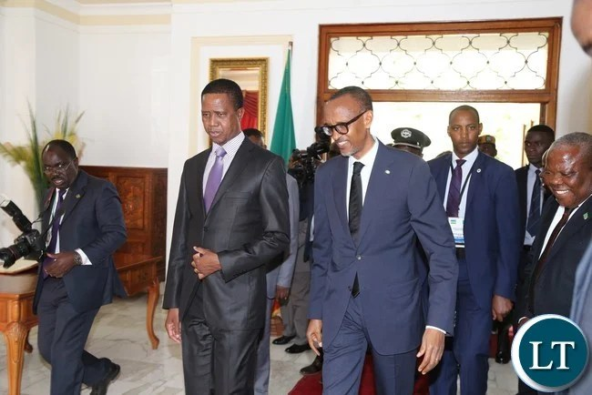 His excellency Mr Paul Kagame President of the Republic of Rwanda being welcomed by President Edgar Lungu for Bilateral Talks at State House