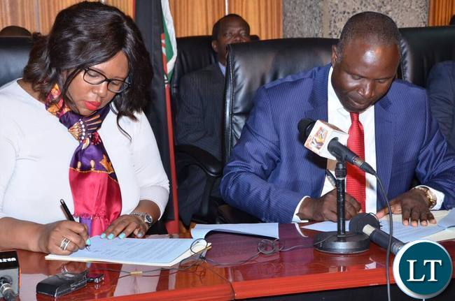 Agriculture Minister Dora Siliya in Kenya with her counterpart Hon Willy Bett
