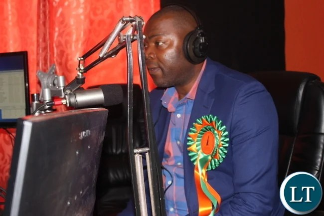 Mr Lusambo stresses a point during a live Let the People Talk programme