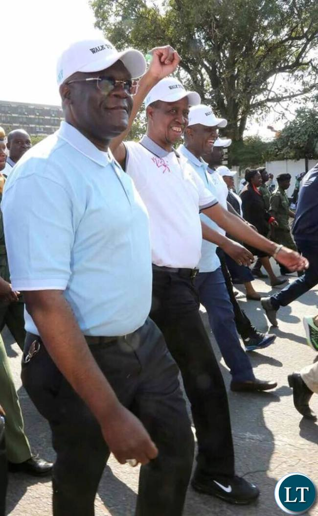 President Edgar Chagwa Lungu today joined the Catholic Diocese of Ndola's works of Mercy Foundation on a 4.2 Kilometers walk to build fundraising march past on Copperbelt on Saturday, July 8,2017-Pictures by EDDIE MWANALEZA