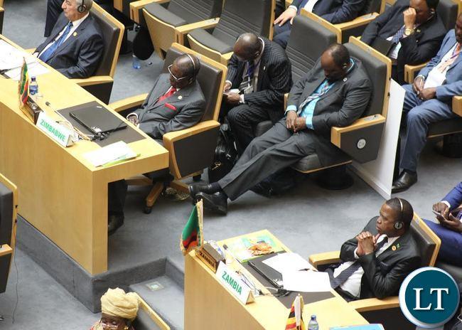 Robert Mugabe following the proceedings at AU