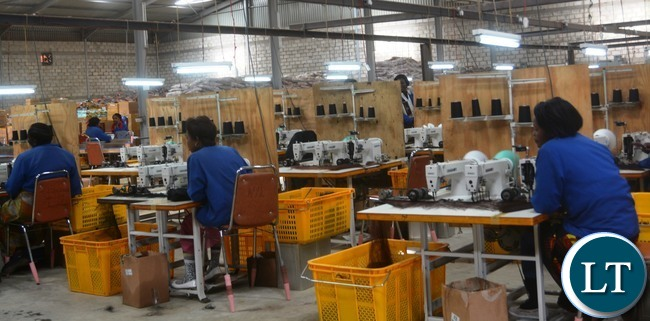 Eve's Hair production workers in the factory in Lusaka yesterday, Picture by Josephine Nsululu/Zanis.