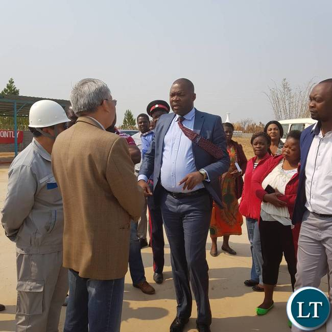 Copperbelt Minister Lusambo being welcomed by officials from AVIC International during the tour of the construction site of the new Ndola International Airport