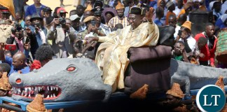 Mwine Lubemba Chitimukulu Kanyanta Manga 11 arrive at the arena to start the Annual Ukusefya pa Ngwena Traditional Ceremony