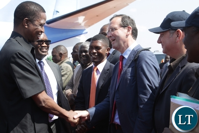 President Edgar Lungu is welcomed by British High commissioner, Fergus Cohrne Dyet at Kasama airport for the official launch of Block 31 Oil and Gas exploration by Tullow Zambia limited. .