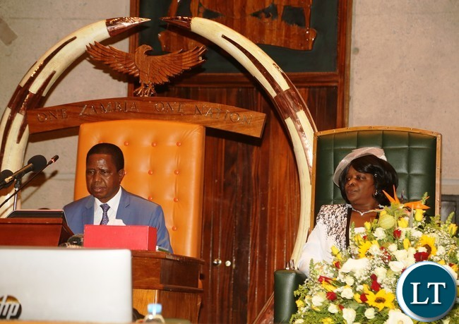 President Edgar Lungu and first lady Esther Lungu during the official opening second session of twelfth Assembly at parliamen