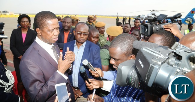 President Edgar Lungu speaking to Journalists shortly after his arrival from United Nations (USA) Annual General Meeting Assembly at Kenneth Kaunda International Airport
