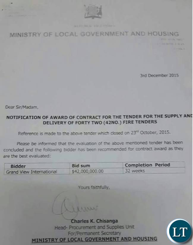 Award contract letter
