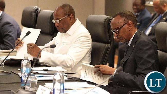 Guinean President-A.U. Chairperson Alpha Conde and Rwandan counterpart, Paul Kagame, at a meeting in New York.