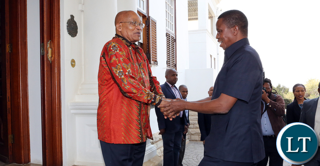 President Edgar Lungu being welcomed at State house in Pretoria South Africa by President Jacob Zuma before they held official talks with the SADC Chairperson on Saturday 16-09-2017- Pictures By Eddie Mwanaleza/State house.