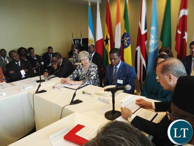 President Edgar Lungu chairing a meeting on Human Trafficking and forced Labour with the British Prime Minister Theresa May