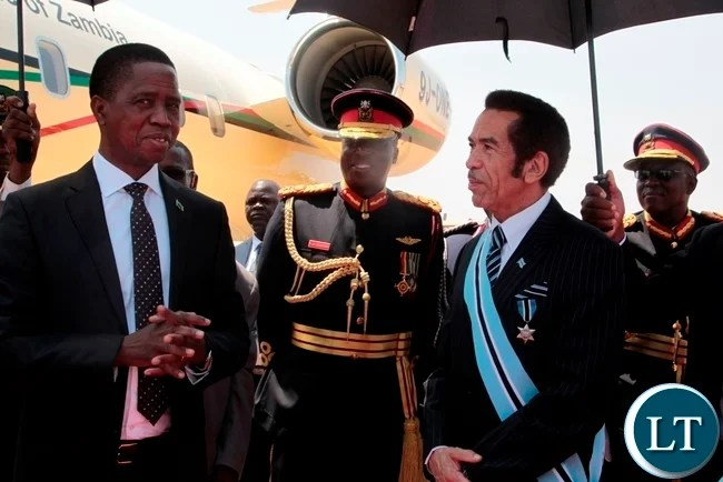 PRESIDENT Edgar Lungu in a conversation with President Seretse Khama Ian Khama shortly before departure for Lusaka at Sereste Khama International Airport