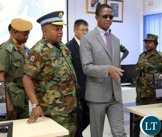 President Edgar Lungu with Air Force Commander Lt Gen Eric Chimese at the official opening of Zambia airforce L15 Flight Simulator Centre