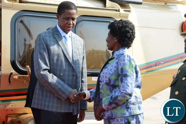 President Edgar Lungu is being seen off by vice-President,Inonge Wina at Kenneth Kaunda International Airport before departing for Angola.