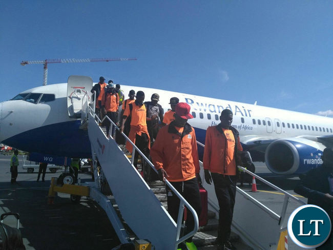 Zambia National Soccer team arrive at Houri Boumedian Airport in Constantine aboard a chartered Rwanda Airways Plane