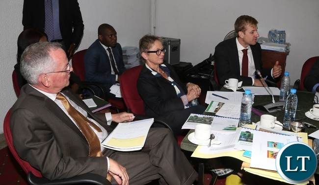 (From left to right) Dr. William Janssen Lead Agriculture Economist World Bank (r), Dr. Gregory Smith Senior Economist World Bank (l) and Ina Ruthenberg is the world Bank Country Manager- Zambia (c) during World Bank Zambia appearing before Parliamentary Accounts Committee at Parliament