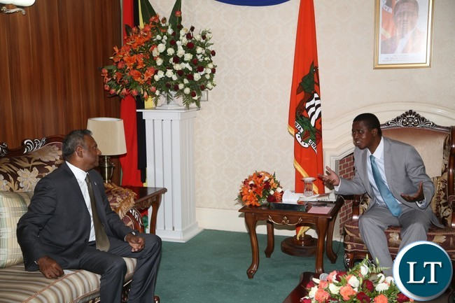 President Edgar Lungu confers with Amnesty International Secretary General Salil Shetty during courtesy call on the President at State House