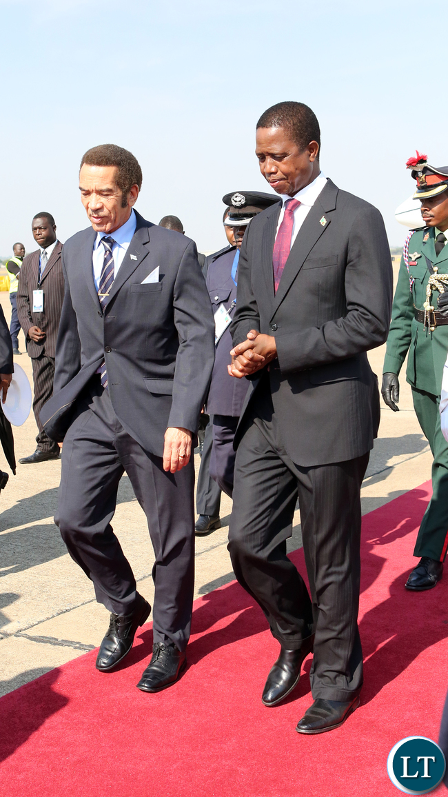 President Edgar Chagwa Lungu with President of Botswana, Lt. Gen. Seretse Khama Ian Khama, at KK international airport in Lusaka arrival ceremony  , T??he Botswana leader is in Lusaka for 53Zambia Independence anniversary Celebrations Pictures  by Eddie Mwanaleza /State house24-102-17