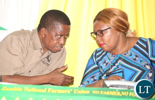 President Edgar Chagwa Lungu speaks with Agriculture Minister Dora Siliya during the 112 th Zambia National Farmers Union annual General Congress at Mulungushi International Conference Center in Lusaka on Thursday, October 26,2017 -Picture by THOMAS NSAMA