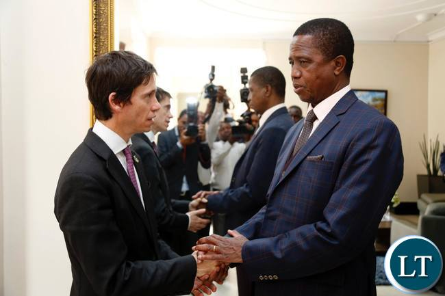President Edgar Chagwa Lungu (right) with British Minister of State for International Development, Rory Stewart after a meeting at State House in Lusaka on Thursday,October 5,2017