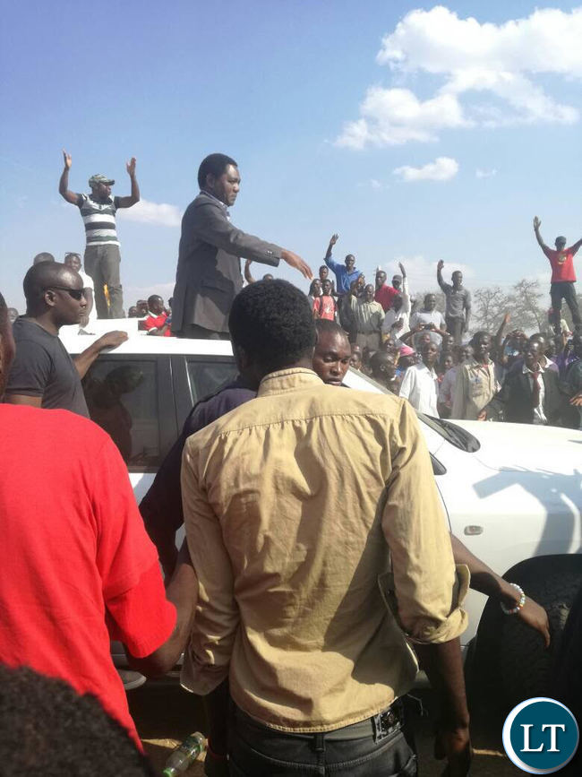 HH greeting UPND Supporters e at Gonde Lwiindi ceremony