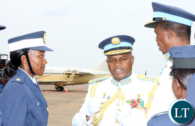 President Edgar Lungu,  Commander- in- Chief of the Armed Forces with ZAF Commander Gen Eric Chimese at ZAF base during the  Commissioning of and Wing Parade of Course 43and 44 on Friday pictures by Eddie Mwanaleza
