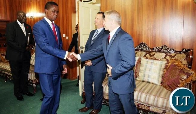 President Edgar Lungu meets America's outgoing Ambassador to Zambia Eric Schultz when he paid a courtesy call on him at State House today, Pictures By Eddie Mwanaleza/State house 13-11-2017.