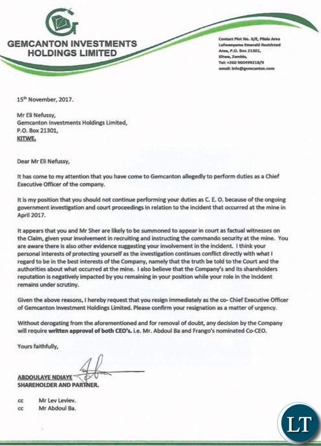 GemCanton Shareholders Letter to Mr. Nefussy - Copy