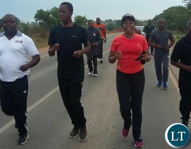 President Lungu on his morning Jog on his 61st Birthday