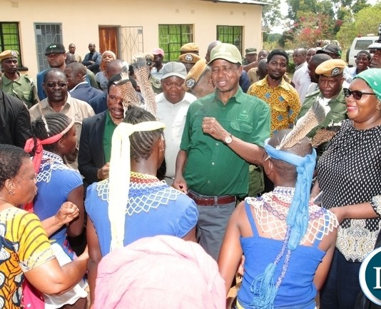 President Edgar Lungu joins in the dancing performed by Mukanzubo dancing troupe in Monze