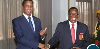 President Edgar Lungu beads farewell to Newly sworn in Zimbabwean President Emmerson Mnangagwa during private talks at Sheraton hotel in Harare