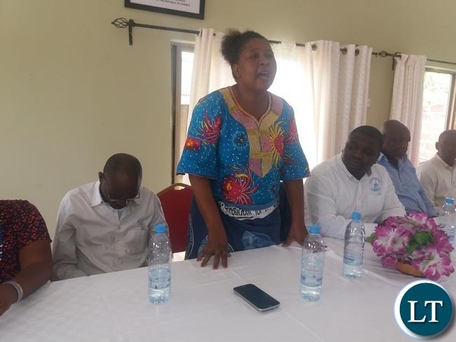 Maggie Musonda addressing Members in Kapiri