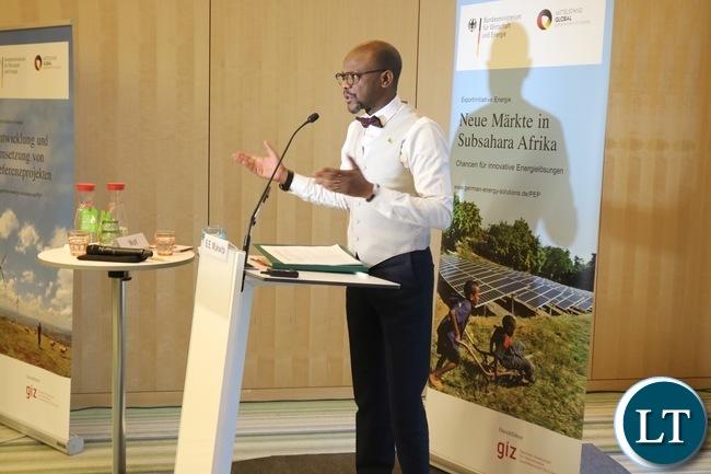 Zambian  Ambassador addressing a workshop on energy