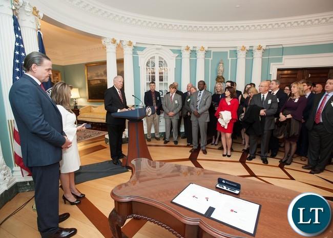 US Ambassador to Zambia Daniel L. Foote and his counterpart, Zambia's Ambassador to the U.S Dr. Ngosa Simbyakula at the event in Washington