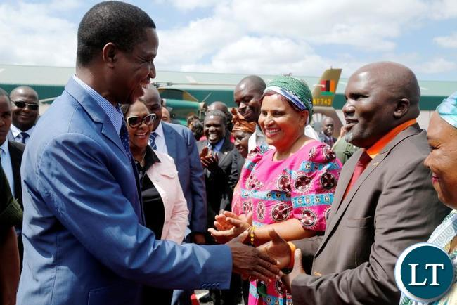President Edgar Lungu (left) greets BuyZed Campaign Founder Evans Ngoma (right) at Marcopolo Tiles Company Limited Premises in Chilanga District of Lusaka  on Friday, December 1, 2017. PICTURE BY SALIM HENRY/STATE HOUSE ©2017