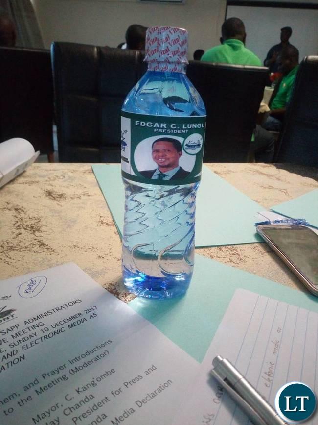 Edgar Lungu branded water bottle during the workshop