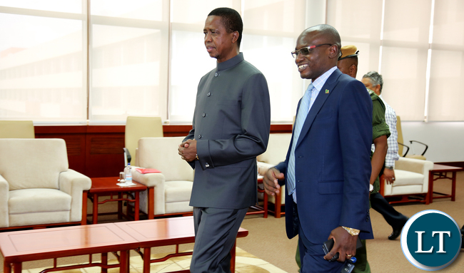 President Edgar Lungu with Amos Chanda arrive at Government Complex for the Commemoration of International Anti Corruption day in Lusaka