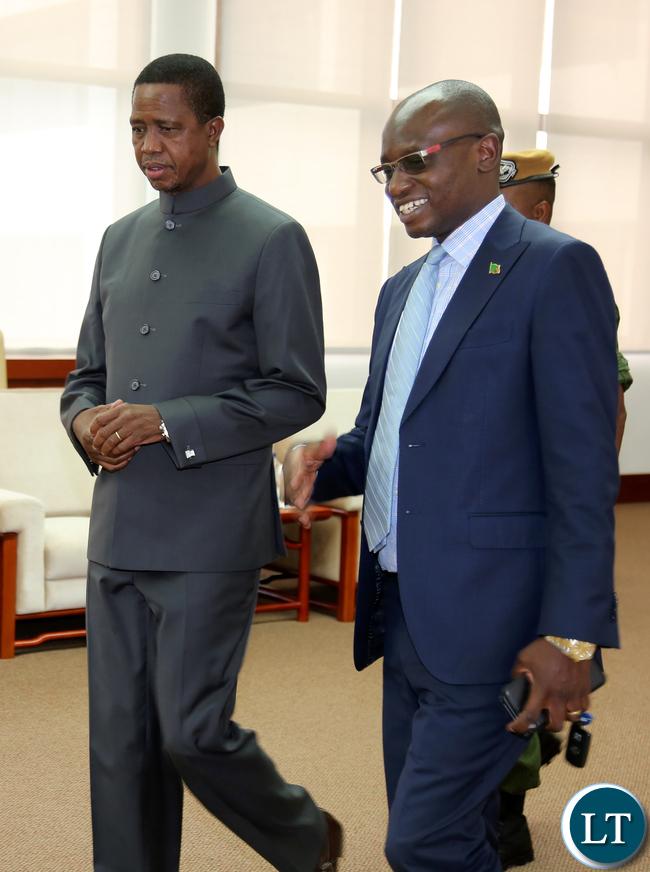 President Edgar Lungu with Amos Chanda at International Anti Corruption day Commemoration In Lusaka