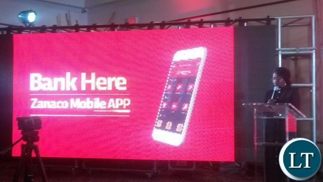 Zanaco Board Chairperson Charity Lumpa speaking at the launch of the mobile app